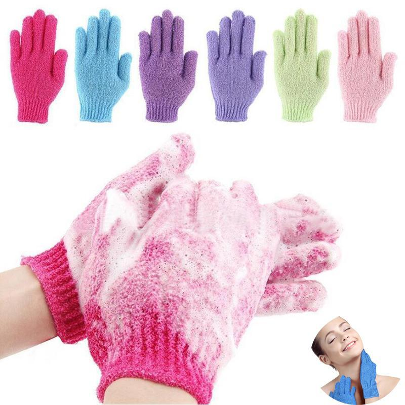 Luvas de banho de esponjas Toalhas de mão esfoliando hidratante esfrega lama, fricção traseira, massagem de spa dupla massagem, embalagem independente
