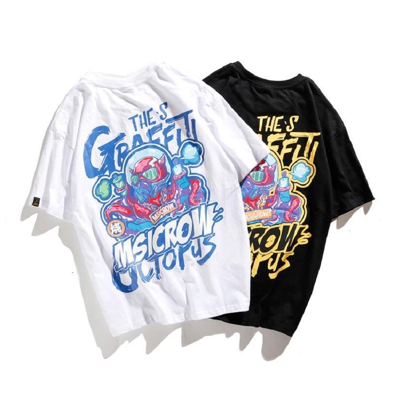 NOUVEAU 2021 HOMME HIP T-shirt HIP HOP T-shirt Européenne et Américaine High Street Original Mode Marque HIP-HOP Alien Octopus Print T-shirt Coton A0C9