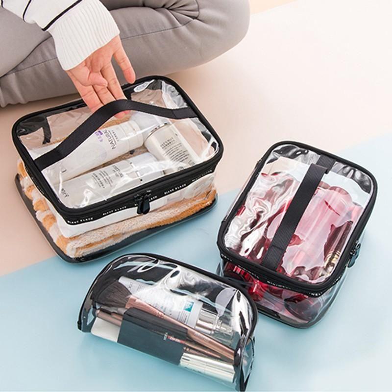 3 piezas de PVC transparente bolsa de viaje Organizador Claro maquillaje cosmético del bolso Esteticista caso de la belleza de tocador componen el bolso Bolsas Lavado