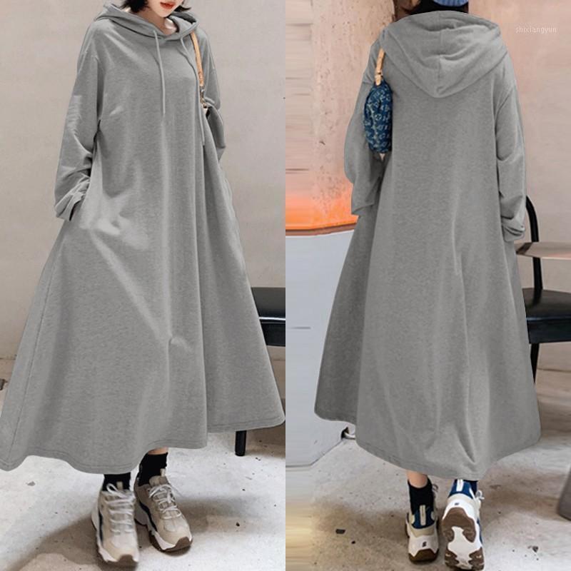 Elegante felpe con cappuccio con cappuccio Dress Donne Felpe autunnali 2020 Zanzea Casual Manica lunga Maxi Vestidos femminile Solid Robe Oversized1