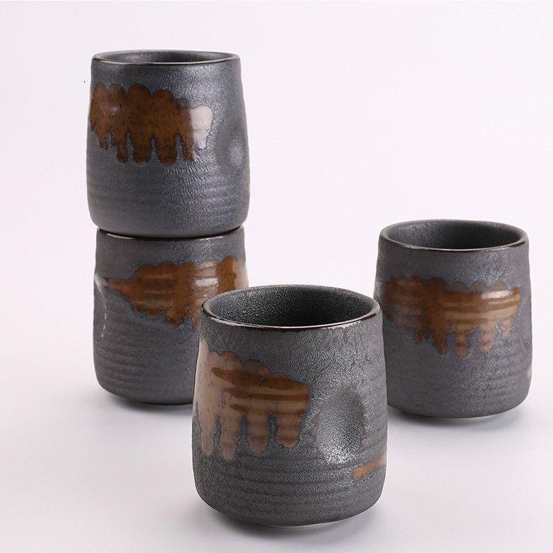 240ml imitation nervure en grès rond tasse céramique céramique céramique tasse tasse à café Y1125
