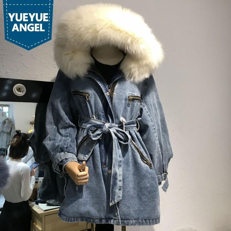 Marca Fox Cuello de piel Houdis relajante calientes largos pantalones vaqueros abrigo calle de mujer con cremallera de invierno con cremallera de lantern de manga sudadera jeans chaqueta