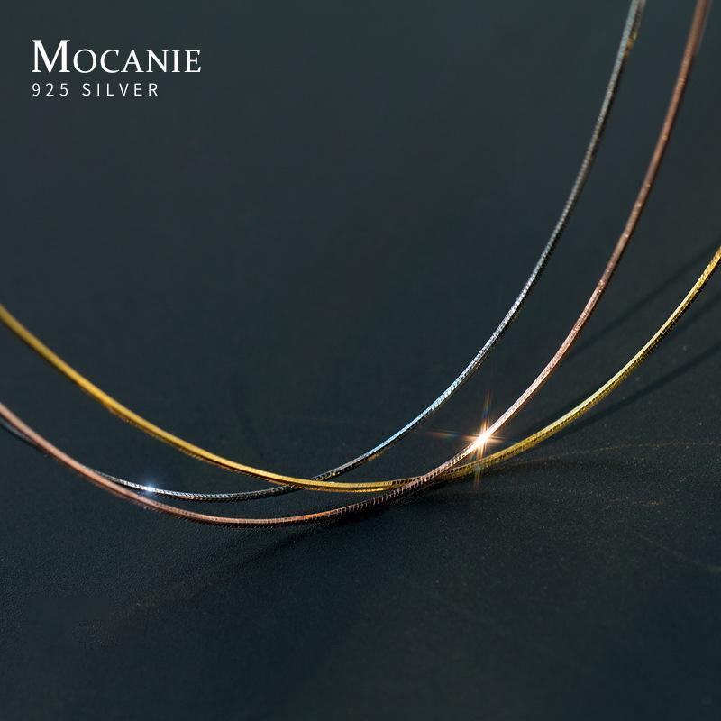 Mocanie Mode Weißgold Rose Farbe Einfache 925 Sterling Silber Schlangenkette Halskette Für Frauen Link Kette Fine Schmuck 40-45cm
