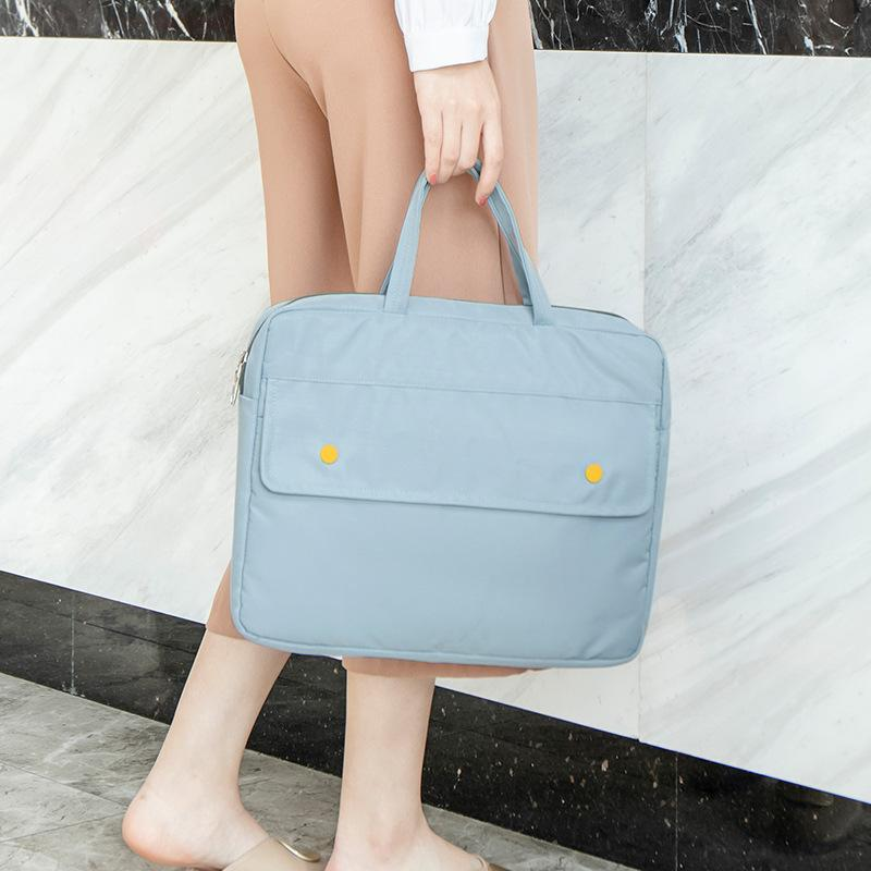 New Waterproof 14-inch Laptop Bag A4 File Handbag Briefcase Men And Women Business Office Portable Document Bags Q0112