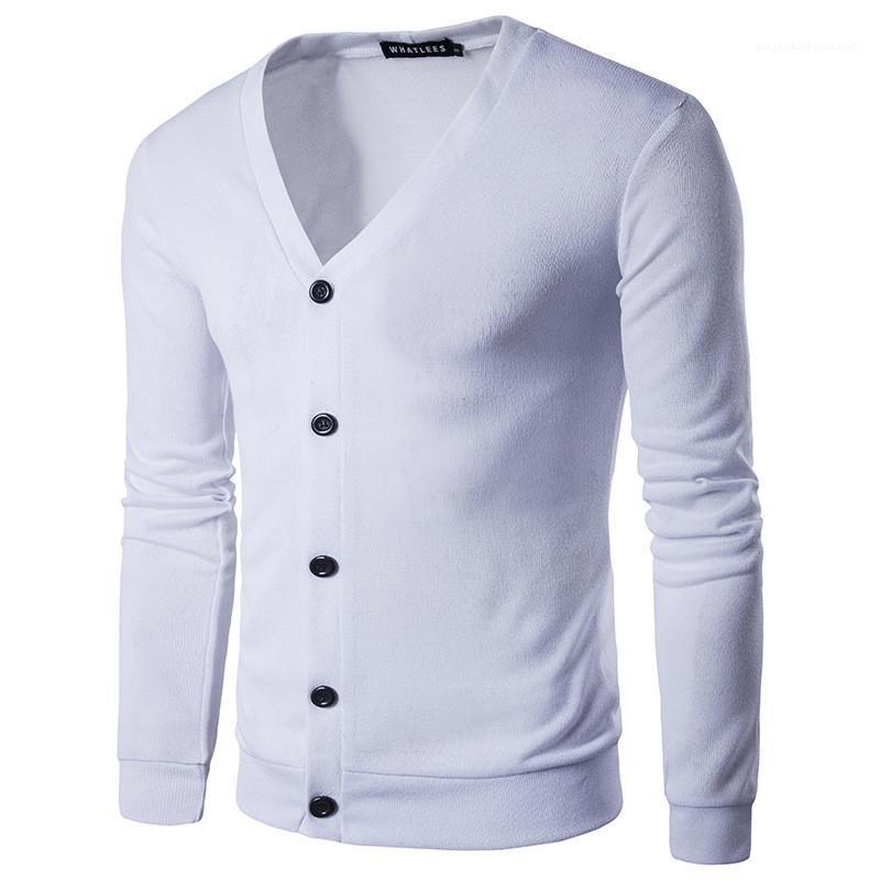 2021 الأزياء soild اللون رجل سترة عارضة الخامس الرقبة واحدة الصدر طويل الأكمام مصمم ملابس رجالي