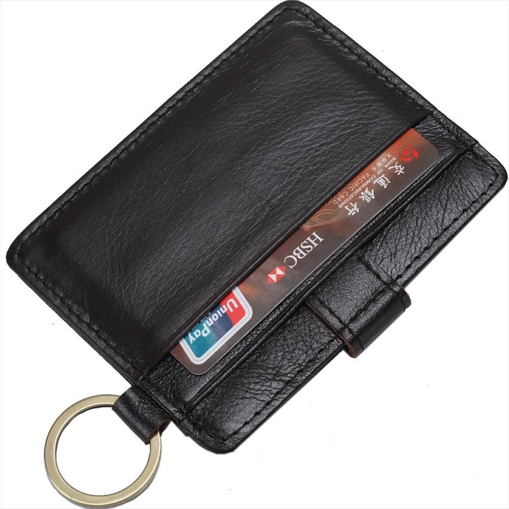 Kahve RFID Hırsızlık Koru Kart Sahibi Gerçek Deri Man Mini Kredi Kartı Cüzdan Çanta Erkekler Cüzdan İnce Küçük