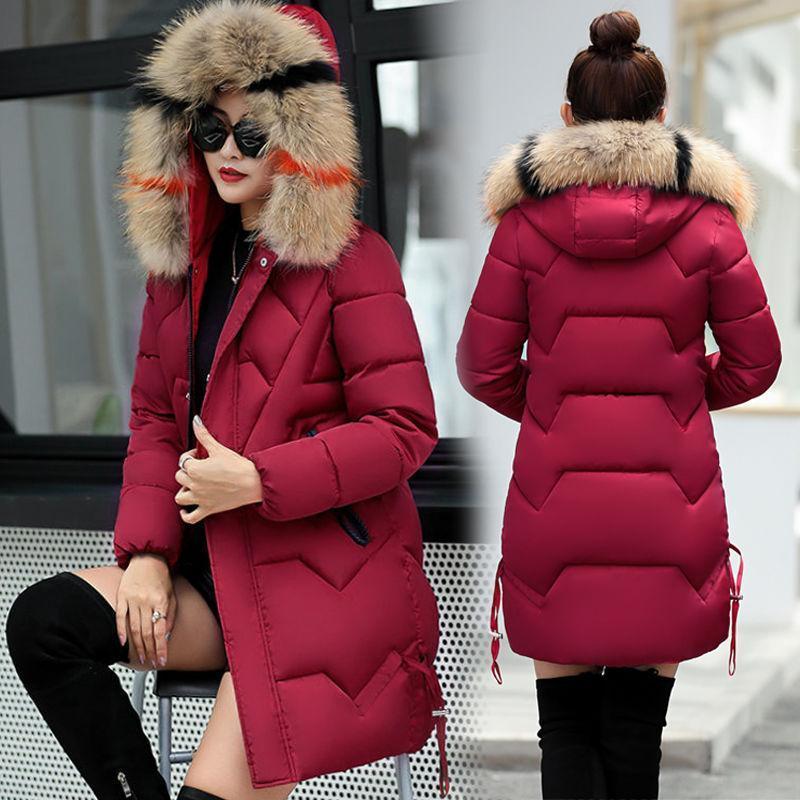 Parkas de las mujeres de las mujeres 2021Winter algodón acolchado medio largo collar peludo delgado y chaqueta espesada suelta abrigo de gran tamaño