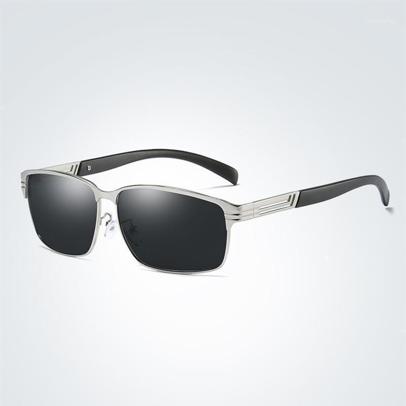 Para óculos de moda masculino UV400 marca de pesca esporte quadro retângulo polarizado sol homens novos óculos de sol condução de liga óculos de sol1 oklpx