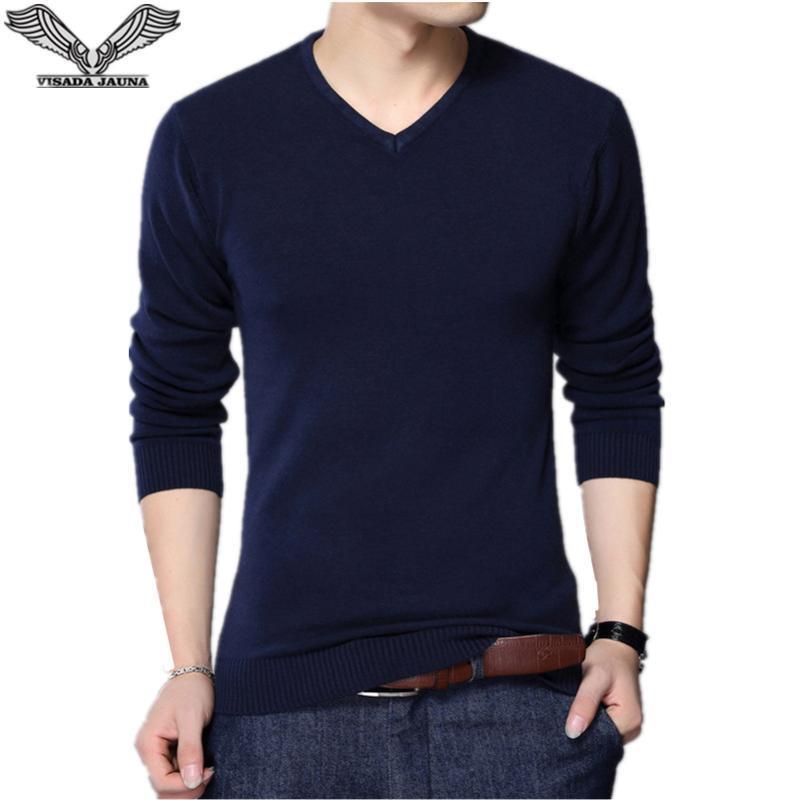 Da Jauna 2021 Осенние повседневные зимние люди свитер с V-образным вырезом мода мужская пуловер высокого качества вязание свитера мужской свитер N6622