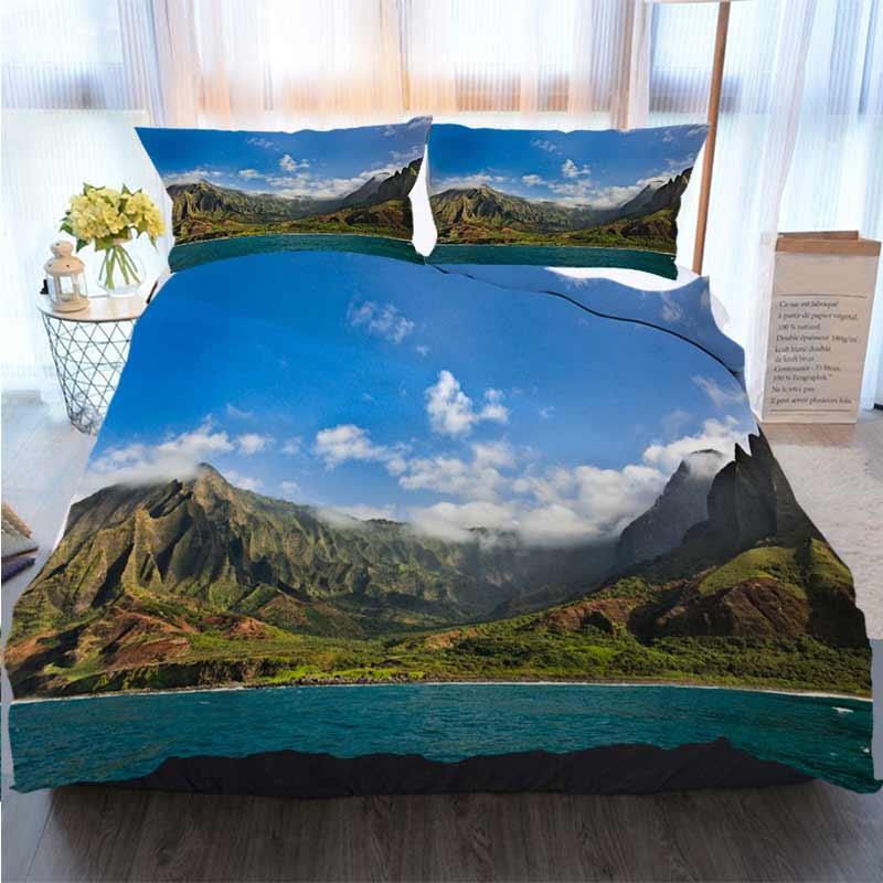 3pcs Bettwäsche Cotton Set Super King Bettbezug-Set Mysterious Misty Na Pali Coast und Waimea Quilt Bettwäsche Tröster Bettwäsche-Sets