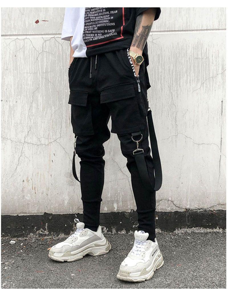 Hip Hop Street Street Dance Pants Ribbon Cerniera HARAJUKU Pantaloni da carico Nero Donne Hip Hop Pantaloni a vita alta