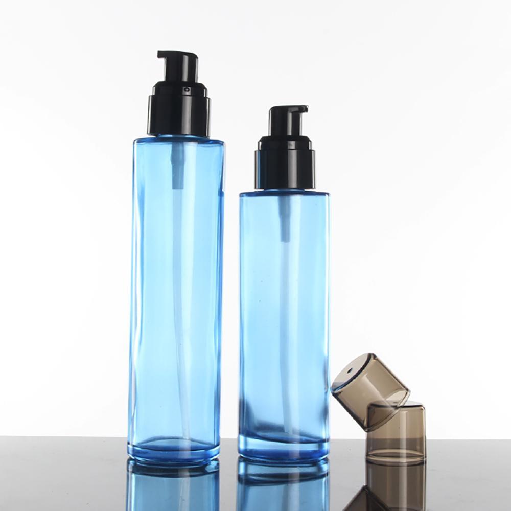 6PS Blue Glass Refillable флакон духов с тонкой Mist Спрей насоса Cap, лосьон бутылки насос 80мл опорожнить косметические контейнеры
