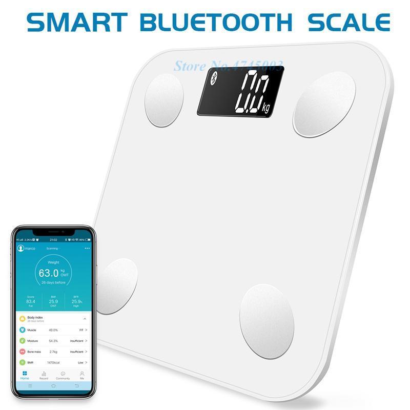 2020 Akıllı Ağırlık Ölçeği Bilimsel Ağırlıklar Peza Vücut Yağ Ölçeği Banyo Dijital Denge Bağlantı Tartım Terazi Bluetooth Uygulaması