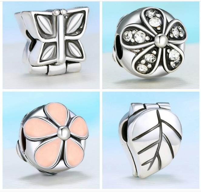 Mode Alte Silber überzogene Diamant Zinken Einstellung Legierung Blume Blätter Lose 4,3 mm Loch Perlen Schraube Stopper für Armbänder Charms
