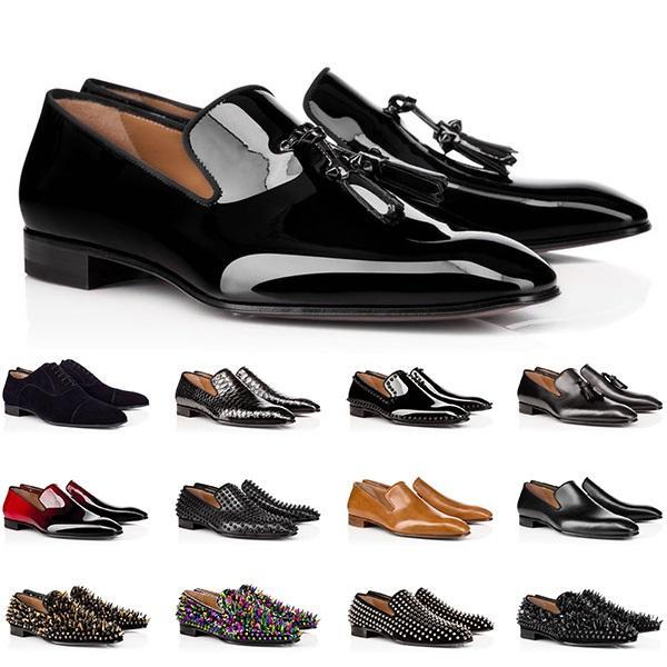 Tasarımcı Erkek Hakiki Deri Ayakkabı Kırmızı Dipleri Düşük Kesim Çivili Spike Elbise Ayakkabı Düğün Parti Erkek Eğitmenler Sneakers Boyutu 40-47