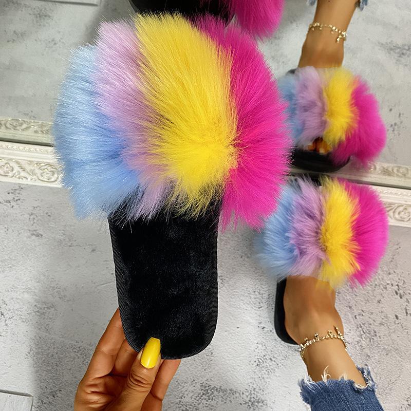 Kış Kabarık Rakun Terlik Ayakkabı Kadınlar Gerçek Faux Kürk Flip Flop Düz Kürklü Kürk Slaytlar Açık Sandalet Kadın İnanılmaz Ayakkabı D30 201125