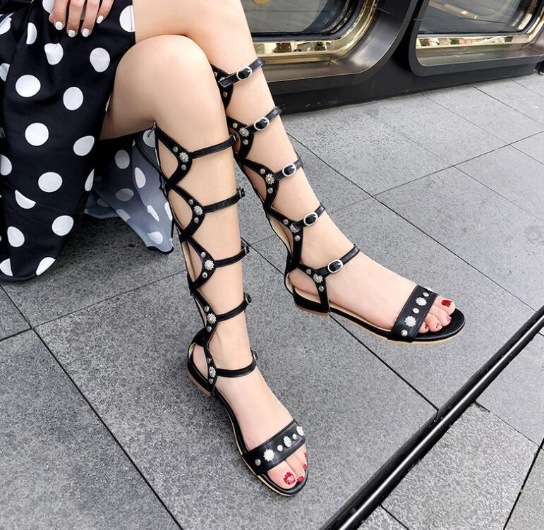 2021 Summer foreign sandal trade European and American style flat hollow out size tall tube cool boots trend booking holiday gift