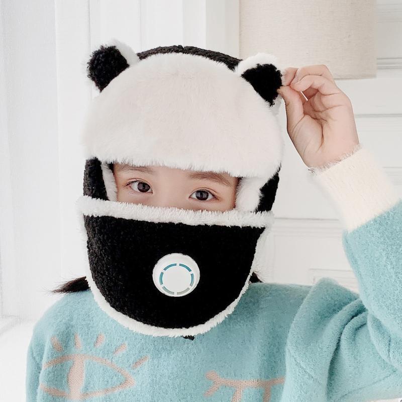 القبعات الشتاء الأطفال لطيف محبوك أطفال كاب يندبروف الدافئة حماية الأذن الوجه قبعة قبعة casquette 2021
