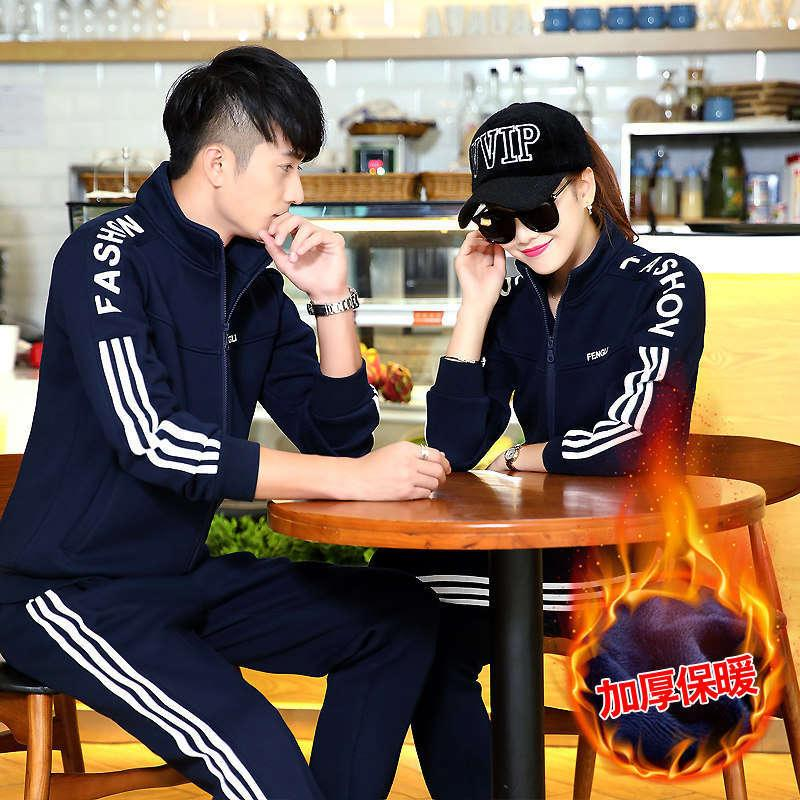 Couple sports autumn / winter 2020 women's fashion running wear Plush thickened sweater casual two piece suit