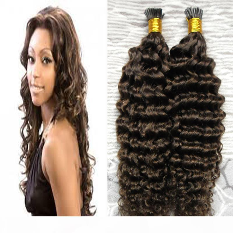 100s pcs réel Remy I Tip Hair Extensions Kératine humaine Bond DEEP Curly European Fusion Hot Hair