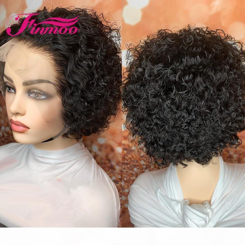 Pixie Cut Peruk Kıvırcık Dantel Ön İnsan Saç Peruk İçin Siyah Kadınlar 4x4 Dantel Kapatma Peruk Brezilyalı Remy saç Kısa Bob Peruk% 150