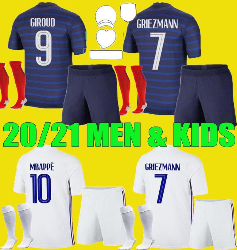 남자 아이들 Griezmann Mbappe 축구 유니폼 아이 키트 2020 2021 Pogba Thauvin 축구 셔츠 20 21 Pavard Kante 성인 소년 전체 세트 유니폼