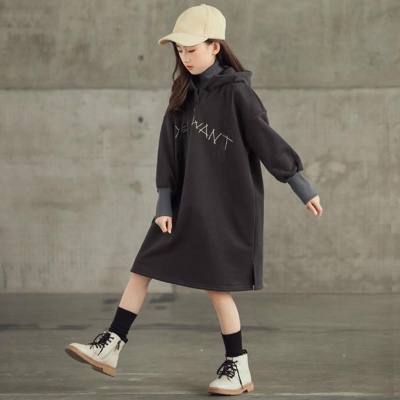 Dziewczyny Dresses Teenage Girls Fleece Zagęścić Sukienka Zima 2021 Dzieci Dorywczo Z Kapturem Ciepły Odzież Kids Turtleneck Proste sukienki, # 9247