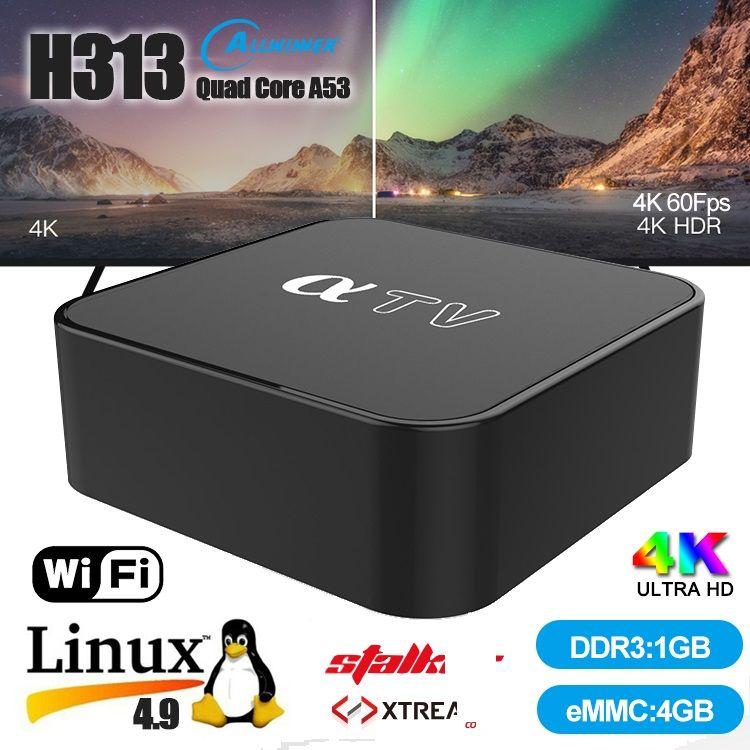 aTV Linux 4.9 4K HDR TV BOX Allwinner H313 Chipset 1GB+4GB Support 2.4G Wifi PK T95Q Android TV Box Mag Box