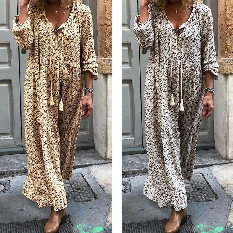 플러스 사이즈 여성 보헤미안 꽃 개의 Tassels 넥타이 섹시한 V 넥 긴 소매 빈티지 비치 sundress에 S-5XL와 맥시 롱 튜닉 드레스를 인쇄