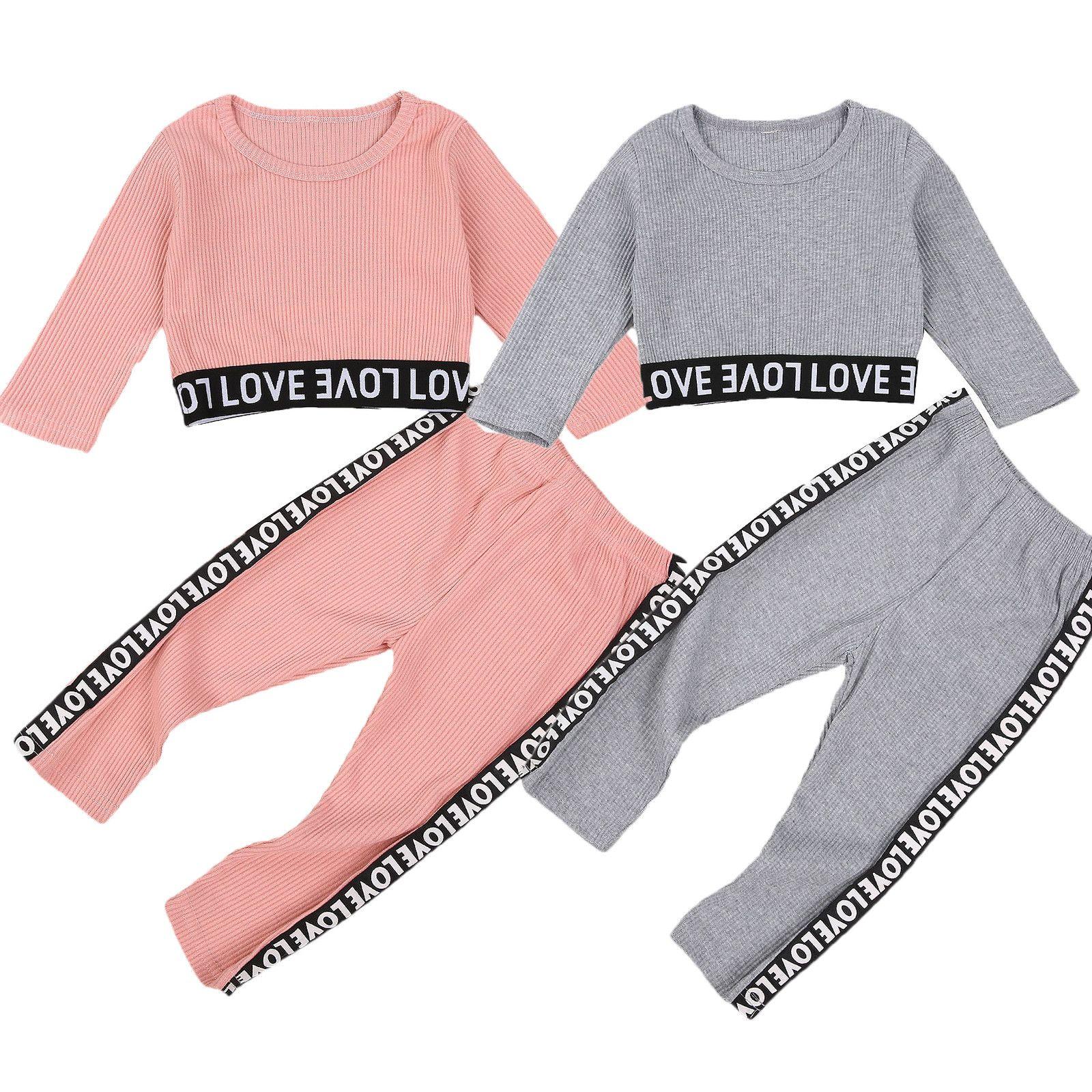 18M-6Y Дети Baby Girl письмо Печать Длинные рукава Хлопок футболку Tops Long 2PCS Pant брюк Активный Спортивная Одежда детская SetX1019