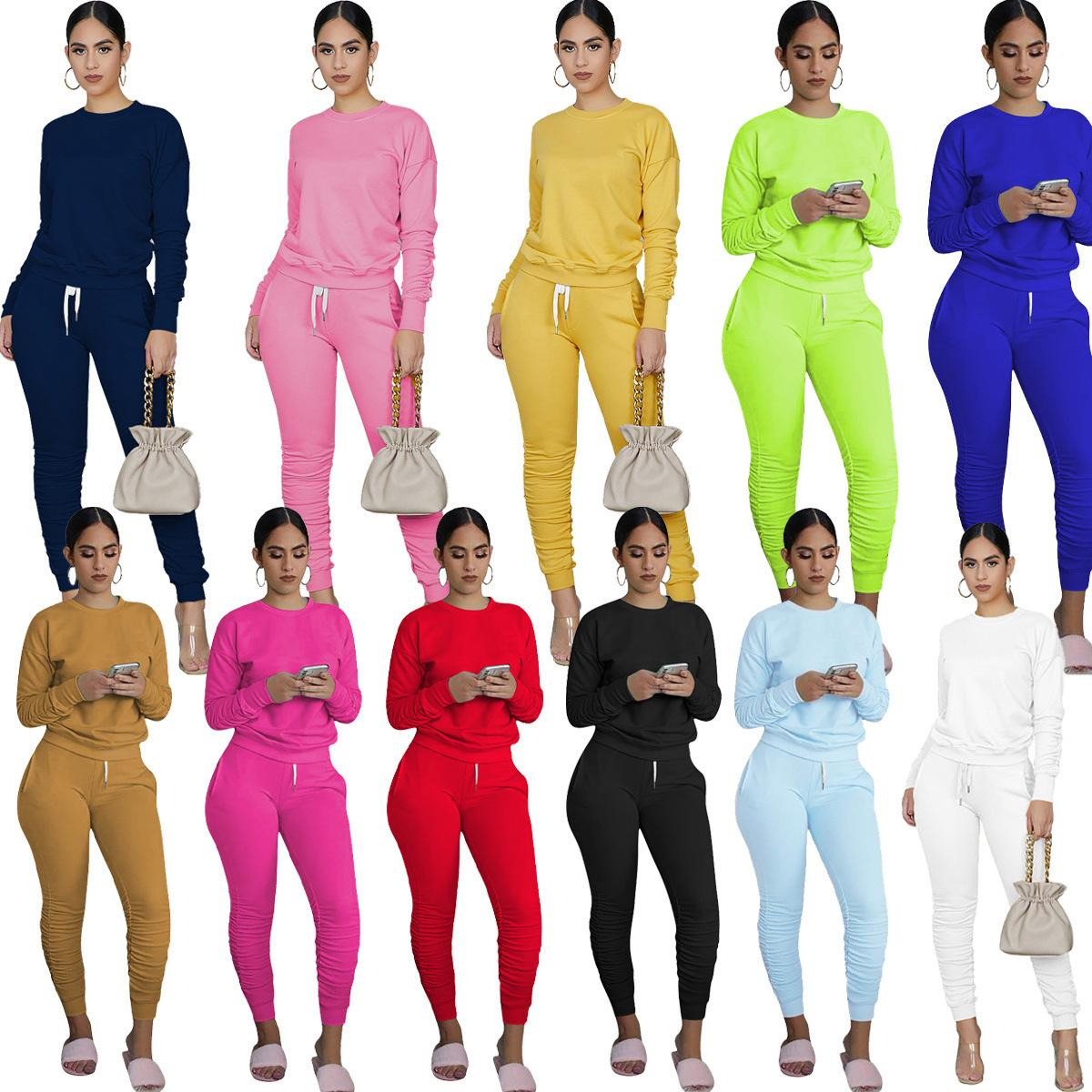 Mulheres Designers Roupa 2020 Solid Color Manga comprida Pullover Sportswear Casual Two Piece Outfits Mulheres Plus Size Vestuário