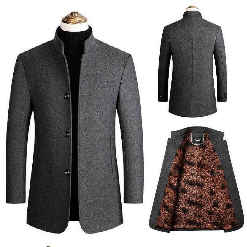 Woolen Men Middle-aged Men Wool Coat Plus Thick Velvet Tunic Collar Woolen Overcoat Long Blend Coat
