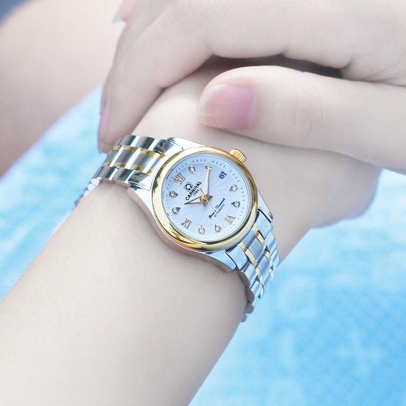 Relogio Feminino КАРНАВАЛ Дорогих женщин Механические часы Ladies Водонепроницаемый Стекло Автоматическая наручные часы с календарем