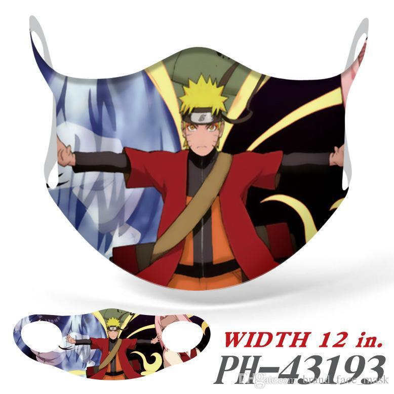 2020 Новая мода Naruto Периферийное печати лицо маски Мультфильм Мультфильм Полноцветный Бесшовные вискозного волокна пыле маски Маски для лица Cosplay