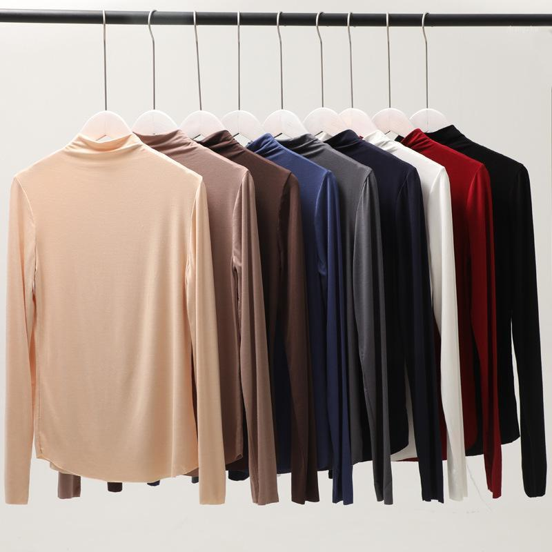 Modal T Shirt New Korean Women High Neck Solid Color Large Size Underwear Ulzzang Tshirt Womens Clothing Autumn Winter1