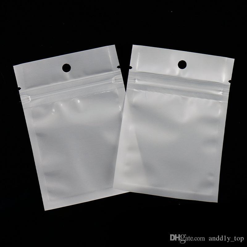 seasontech Şeffaf + beyaz inci Plastik Poly OPP Fermuar Çanta Perakende Paketleri PVC Çanta Ambalaj Takı şarj kablosu Telefon davayı kilitlemek Zip