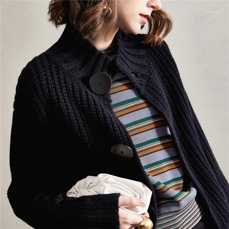 Mulheres Sweater 2020 Nova Jaqueta Camisola Mulheres Grosso Outono e Inverno Lã Cardigan Curto Grosso Loose1