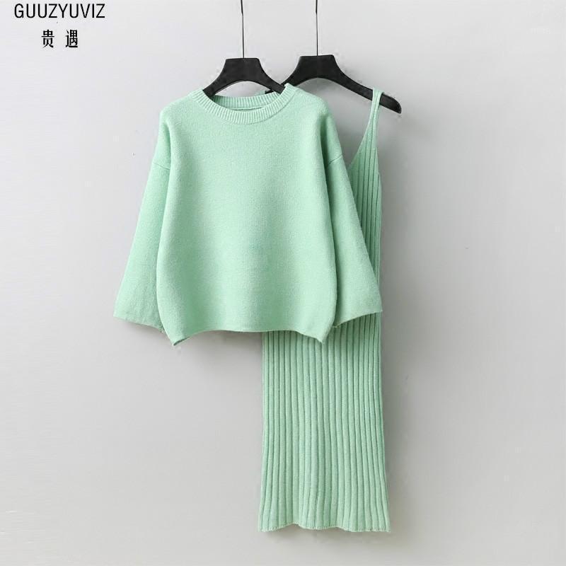 Guuzyuviz Donne Set Set Maglia a maglia sciolta e Sling V-Neck Dresses 2 pezzi Set Donne Casual Chic Caldo 2 Abiti per 1