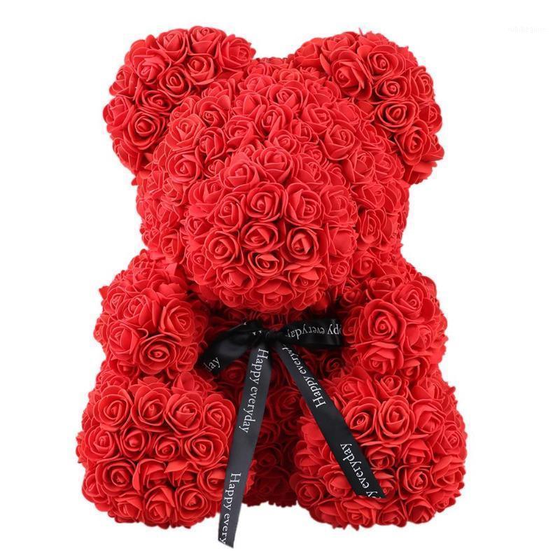 2019 Dropshipping de 40cm Savon Mousse Rose Teddy Bear Fleur artificielle dans une boîte-cadeau pour la petite amie Femmes Saint-Valentin Jour de la mère Cadeaux1