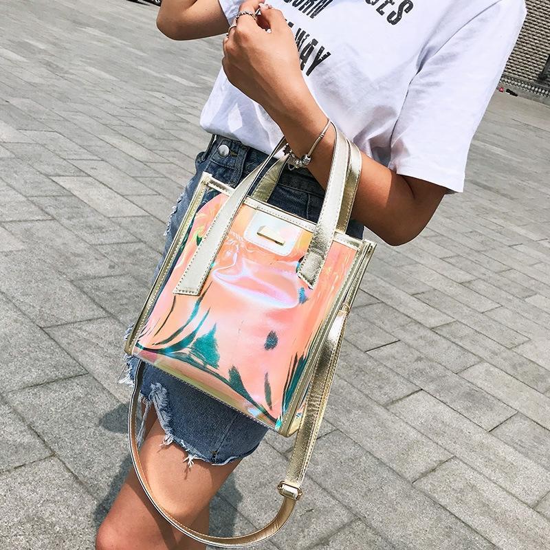 Sommer transparent Handschulterbeutel-Frauen 2020 neue Art und Weise koreanische Straddle Umhängetasche in vielseitig Gelee Mutter und Sohn Handtasche xKMgJ xK