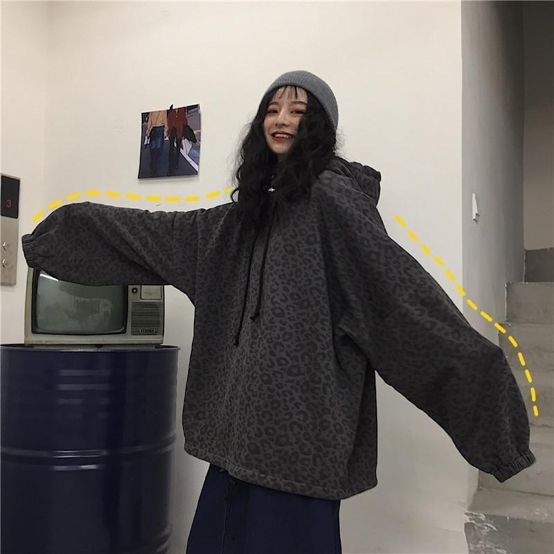 Damen Hoodies Sweatshirts Plus Größe übergroße lose mit Kapuze Leopard Hip Hop Sweatshirt Pullover Frauen 2021 Harajuku Streetwear Punk Top W