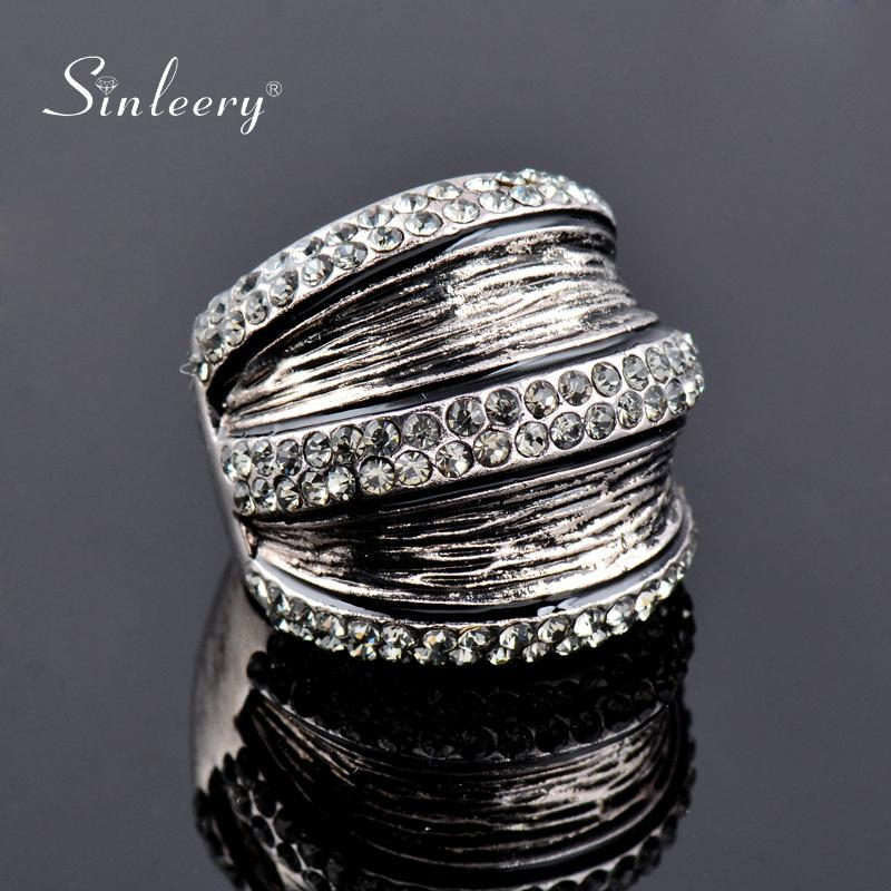 SINLEERY la vendimia gris Cubic Zirconia joyería anillos anchos para las mujeres del partido del color de plata antigua Tamaño Anel 7 8 9 Jz170 SSA