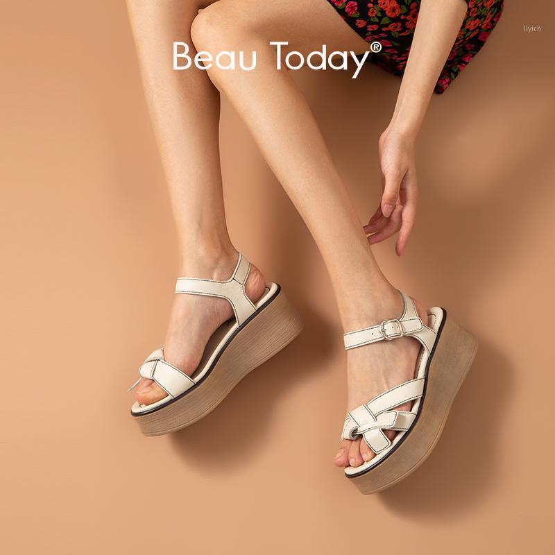 Beautoday Gladiator Sandali Donne Genuine Cinturino in pelle di mucca Cinturino da cucire Cuneo Summer Lady Platform Shoes Handmade 381261