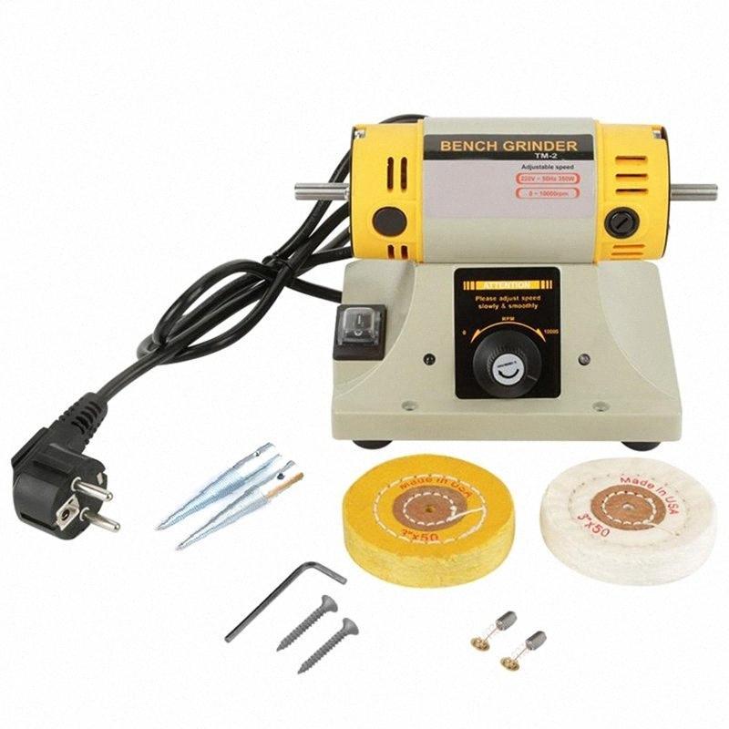 220V 350W máquina de pulido para la joyería Banco dental Torno motor de la máquina amoladora con los accesorios (enchufe de la UE) bqtS #