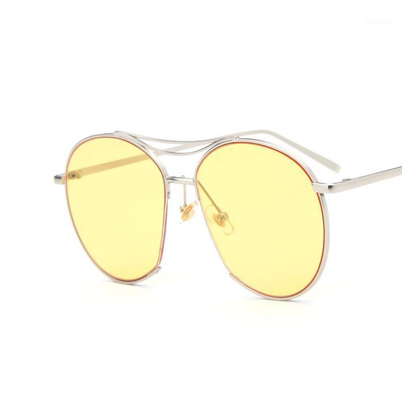 Vintage Redondo Gafas de sol Mujeres de gran tamaño Gafas elegantes Mujer Moda Moda Eyewear UV400 Viaje de acrílico Feminino1