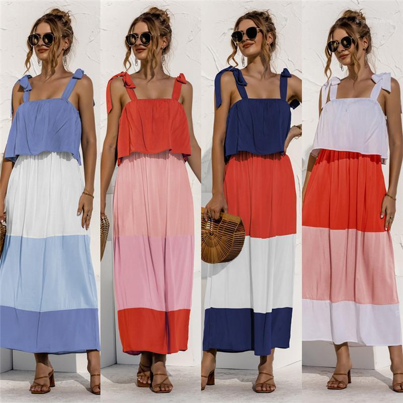 Spaghetti Strap Casual Kleid Sommer Sleeveless Patchwork Frauen Strandkleider Frauen Rüschen Bandagekleider Sexy Backless