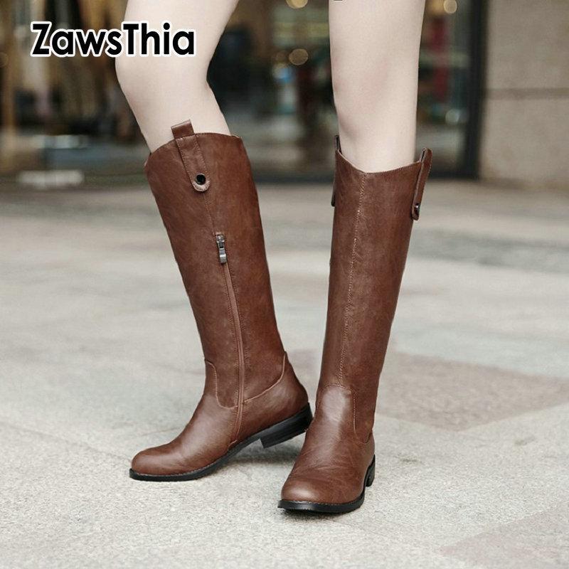 ZawsThia 2020 caldi d'inverno casual scarpe femminili punta tonda tacchi bassi sciolti ginocchio alti stivali da cowgirl occidentale stivali da equitazione equestre