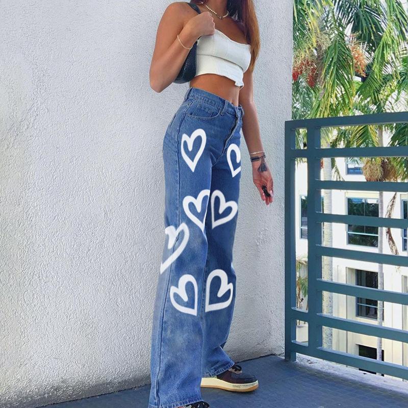فريدة من نوعها المرأة واسعة الساق جينز الأزياء عالية مخصر الشارع الشهير الشهير القلب طباعة مستقيم الدينيم السراويل ل فام