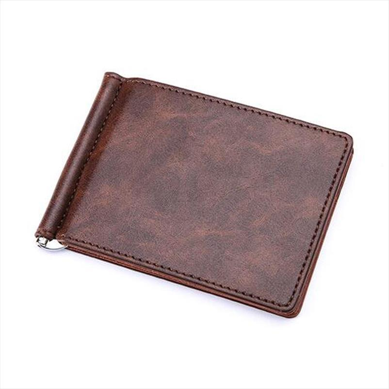 New Brand Solid Simple Mini Mens Leather Wallet Money Clip With Metal Clamp Slim Purse Card Slots Cash Holder For Man
