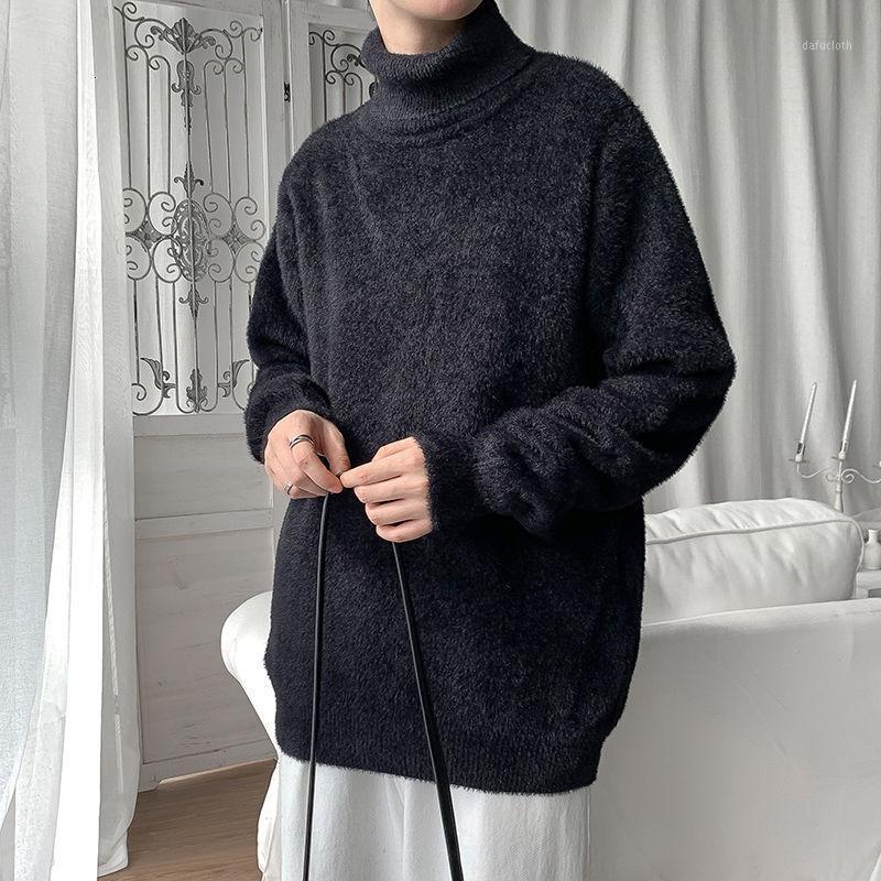 2020 зимний мужской высокий воротник вязание шерстяные свитера ткань тонкий подходящий пуловер Homme кашемию кашемировые водолазки одежда для одежды M-3XL1